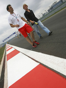 Nico Rosberg walks the track