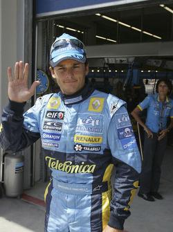 Giancarlo Fisichella celebrates second place qualifying