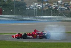 Michael Schumacher après son accrochage avec Mark Webber
