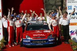 Podium: winners Sébastien Loeb and Daniel Elena celebrate victory