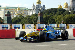 Giancarlo Fisichella drives the Renault F1 in the streets of Moscow