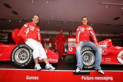 Vodafone race event in Milan: Rubens Barrichello and Michael Schumacher