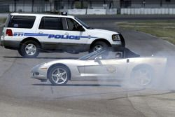Dale Earnhardt Jr. completes a series of doughnuts in the Chevrolet Corvette he was driving following a police pursuit training session