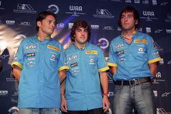 Renault F1 Drivers Giancarlo Fisichella, Fernando Alonso and Franck Montagny