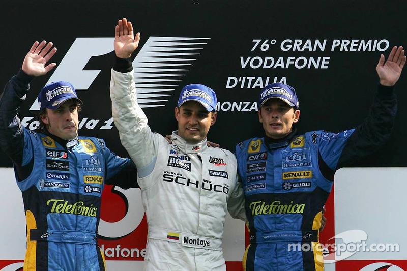2005: 1. Juan Pablo Montoya, 2. Fernando Alonso, 3. Giancarlo Fisichella