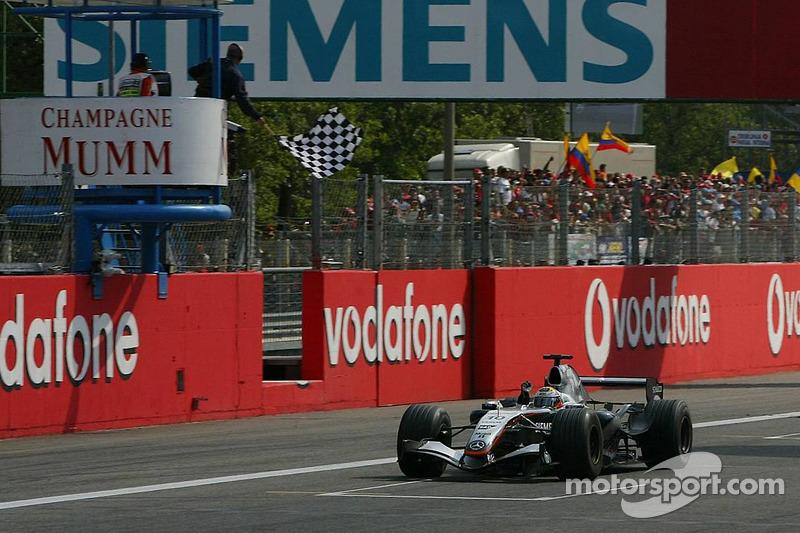 Juan Pablo Montoya takes checkered flag