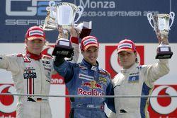 Podium: race winner Neel Jani with Nico Rosberg and Giorgio Pantano