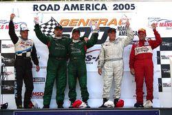 Podium: race winner Klaus Graf with Paul Gentilozzi, Greg Pickett, GT-1 winner Cliff Ebben and GTA winner Steve Kelso