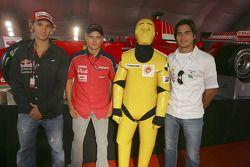 Autograph session: Mathias Lauda, Heikki Kovalainen and Nelson A. Piquet