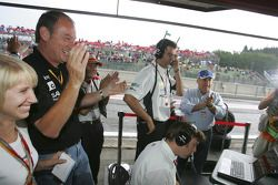 HiTech Piquet Racing team members celebrate victory