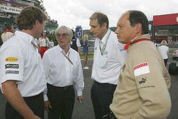 Bernie Ecclestone with Bruno Michel, Christian Horner and Frédéric Vasseur