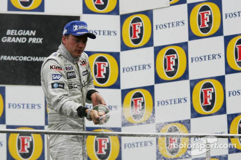 Podium : champagne pour Kimi Raikkonen