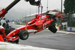The wrecked car of Michael Schumacher