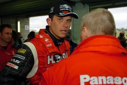 Garth Tander speaks to the media after claiming pole position