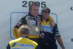 Podium: race winner Jay Howard celebrates with team boss Richie Hearn