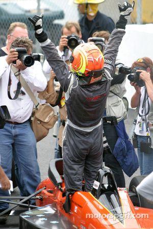 Race winner Antoine Bessette celebrates