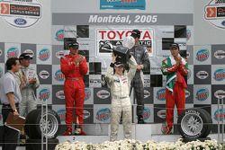 Podium: 2005 Atlantic Series champion Charles Zwolsman with race winner Antoine Bessette, Tonis Kasemets, David Martinez and C2 class winner Daryl Leiski