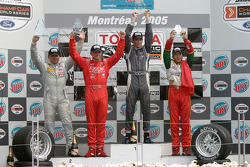 Podium: race winner Antoine Bessette with Tonis Kasemets, David Martinez and C2 class winner Daryl Leiski