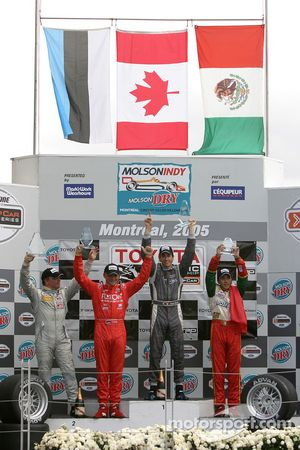 Podium: race winner Antoine Bessette with Tonis Kasemets, David Martinez and C2 class winner Daryl Leiski