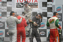 Podium: champagne for Charles Zwolsman, Antoine Bessette, Tonis Kasemets, David Martinez and Daryl Leiski
