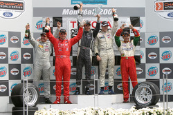 Podium: 2005 Atlantic Series champion Charles Zwolsman with race winner Antoine Bessette, Tonis Kasemets, David Martinez and C2 class winner Daryl Leiski