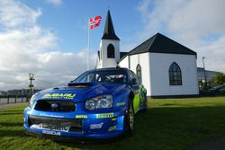 The Subaru Impreza WRC outside the Cardiff's Norwegian church