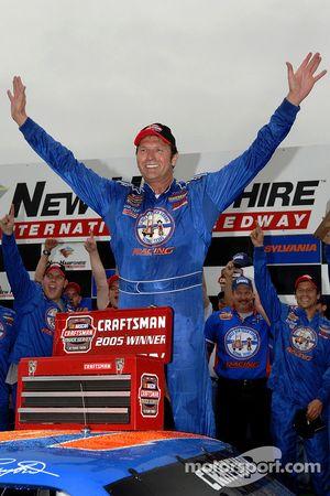 Victory lane: race winner Rick Crawford celebrates