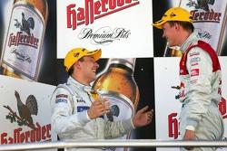 Podium: race winner Mattias Ekström with Gary Paffett