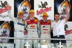 Podium: race winner Mattias Ekström with Gary Paffett and Tom Kristensen