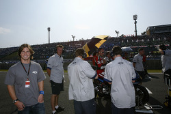 James Ellison and Franco Battaini on the starting grid