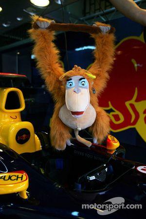King Louie in Red Bull Racing garage area