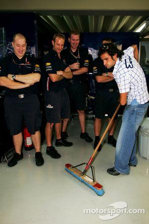 Vitantonio Liuzzi gets the job of sweeping the floor
