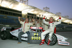 2005 GP2 Series champion Nico Rosberg celebrates with Nicolas Todt