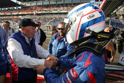 Robbie Kerr celebrates second place finish with team boss John Surtees
