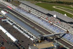 Aerial view of the start/finish line at EuroSpeedway Lausitzring