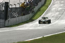 Nelson A. Piquet takes the chequered flag