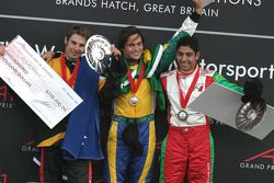 Will Power, Nelson A. Piquet, Salvador Duran op het podium