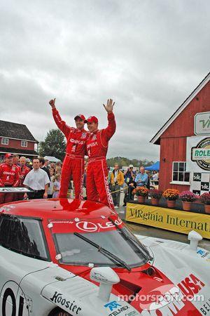 Scott Pruett, Luis Diaz celebrate win