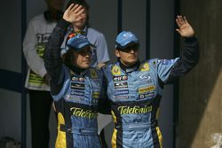 Le poleman Fernando Alonso avec Giancarlo Fisichella
