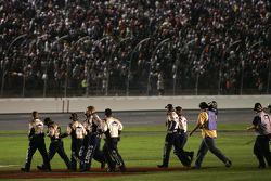 Lowe's Chevy crew members get ready to celebrate
