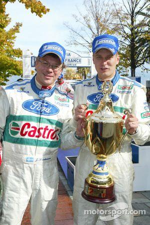 Toni Gardemeister and Jakke Honkanen celebrate second place finish