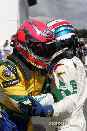 Race winner Alexandre Premat celebrates with Nelson A. Piquet