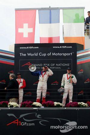 Podium: race winner Alexandre Premat with Neel Jani and Ralph Firman