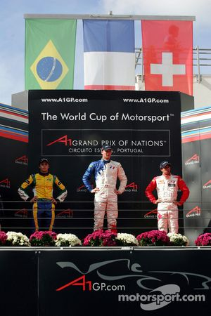 Podium: race winner Alexandre Premat with Nelson A. Piquet and Neel Jani