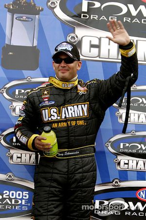 Tony Schumacher celebrates after clinching the 2005 Top Fuel division win at the 5th Annual ACDelco