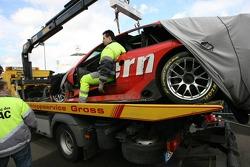 The wrecked car of Heinz-Harald Frentzen
