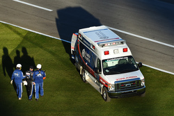 Bobby Gerhart walks to the ambulance