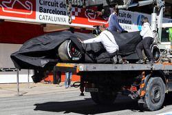 The crashed car of Fernando Alonso, McLaren