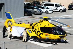 Fernando Alonso, McLaren is airlifted from the circuit in a helicopter