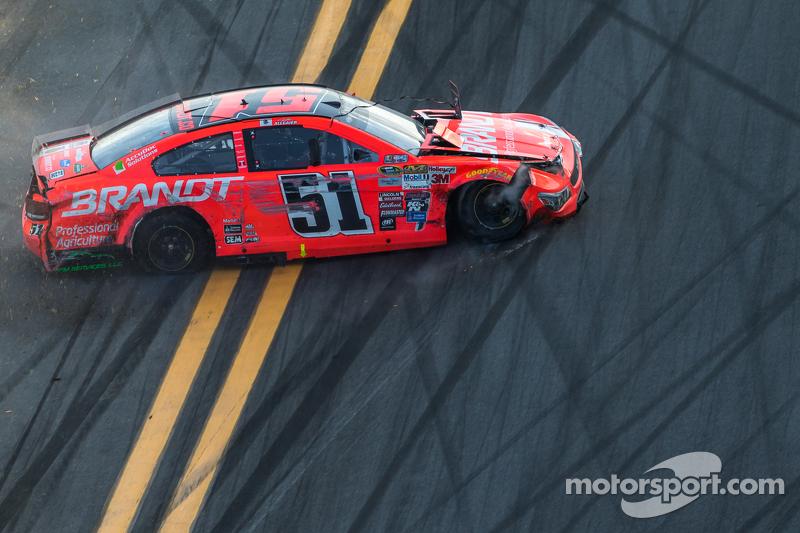Justin Allgaier, HScott Motorsports, Chevrolet, in Schwierigkeiten